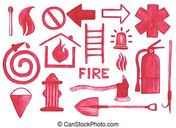 Firefighting icons set. Watercolor signs on the white background, aquarelle pencil.  Vector illustration.