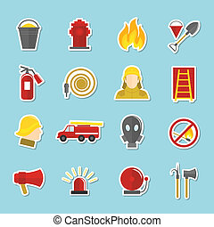 Firefighting icons stickers set of axe fire truck water...