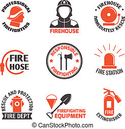 Firefighting label set - Firefighting professional firehouse...