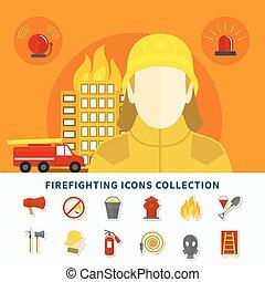 firefighting, sammlung, heiligenbilder
