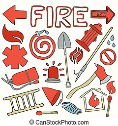 Firefighting set. Hand-drawn cartoon collection. Doodle drawing.