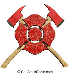 firefighting, symbole, haches, pompier, derrière, traversé