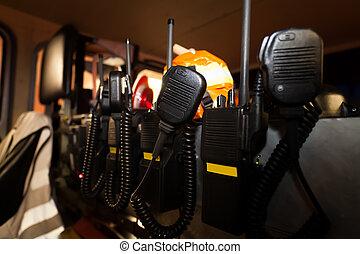 Firefighting vehicles with radios