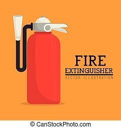 Firefigther design over orange background vector illustration
