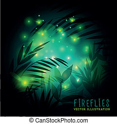 fireflies, forêt, nuit