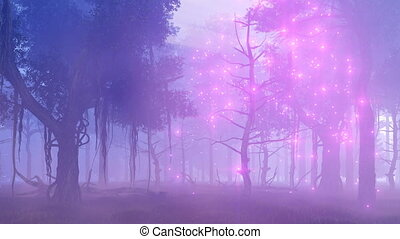 Fireflies in magical misty forest at night 4K