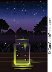 Fireflies in the jar - A vector illustration of fireflies...
