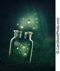 Fireflies leaving the glass