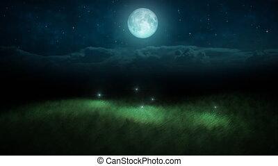 fireflies, op de avond, en, maan, lus