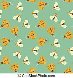 Firefly and bee geometric seamless pattern. Geometric modern...