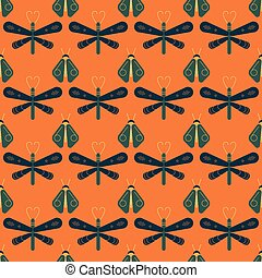firefly and dragonfly seamless pattern. Horizontal orderly...
