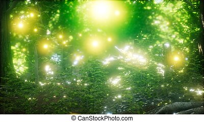 Firefly Flying in the Forest - firefly flying in green ...
