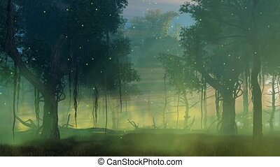 Firefly lights in misty night forest cinemagraph