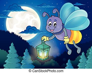 Firefly with lantern theme image 2 - eps10 vector...