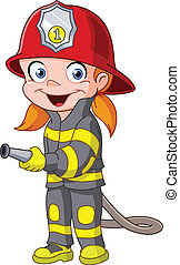Firegirl - Young girl in a fireman costume