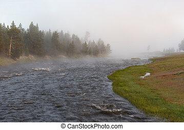 Firehole River in fog