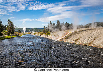 Firehole River at Yellowstone National Park in Wyoming.