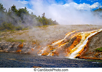 Grand Prismatic Geyser flowing into the Firehole River