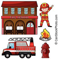 Fireman and fire station illustration