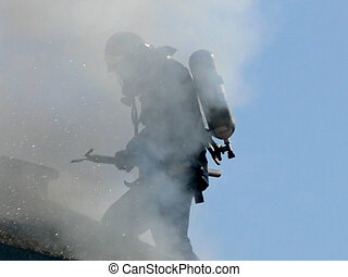 Fireman at Work - Fireman in Smoke