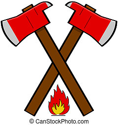 Cartoon illustration showing a couple of fireman axes over a little flame icon