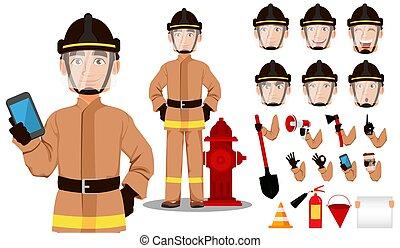 Firefighter cartoon character creation set. Handsome Fireman in in professional uniform and safe helmet. Build your personal design - stock vector