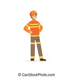 Fireman character in uniform and protective helmet, firefighter at work vector illustration