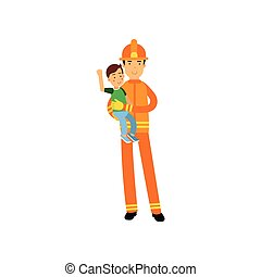 Fireman character in uniform and protective helmet, holding kid boy in his arms