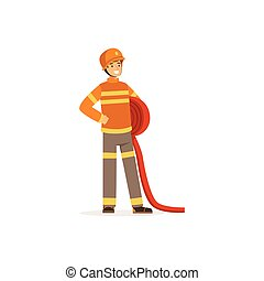 Fireman character in uniform and protective helmet holding roll of water hose, firefighter at work vector illustration