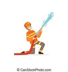 Fireman character in uniform and protective helmet spraying water using hose, firefighter at work vector illustration