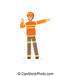 Fireman character in uniform and protective helmet talking and pointing his finger to the right, firefighter at work vector illustration