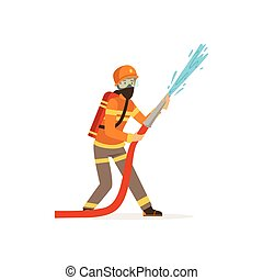 Fireman character in uniform and protective mask holding hose extinguishing fire with water, firefighter at work vector illustration