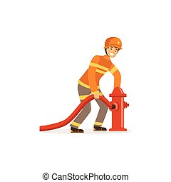 Fireman character in uniform and protective helmet connecting water hose to fire hydrant, firefighter at work vector illustration