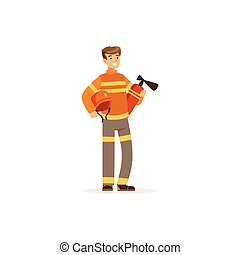 Fireman character in uniform holding extinguisher, firefighter at work vector illustration