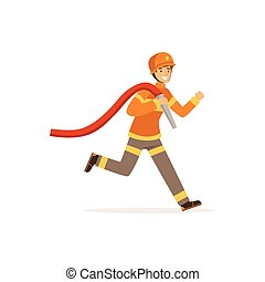 Fireman character running with water hose, firefighter at work vector illustration
