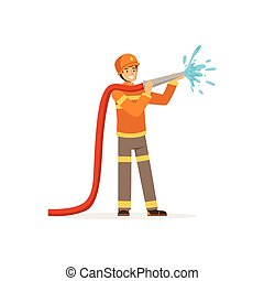 Fireman character spraying water using hose, firefighter at work vector illustration