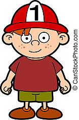 Fireman child - Vector drawing of a child width a fireman's...