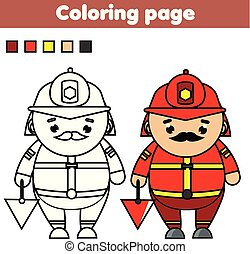 Fireman. Coloring page. Educational game. Printable activity for toddlers and kids