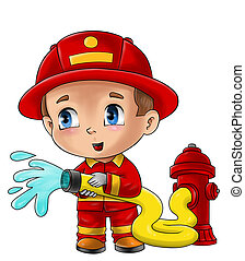 Cute cartoon illustration of a fireman