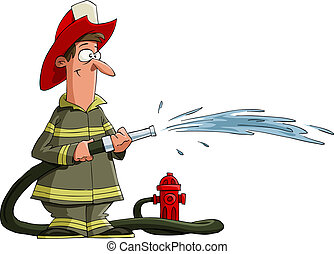 Fireman - Firefighter pours from a fire hose, vector