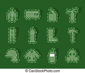 fireman equipment icons