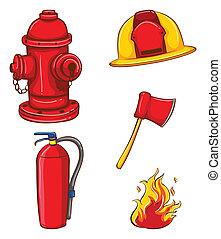 Fireman equipment - Illustration of a set of equipment for ...