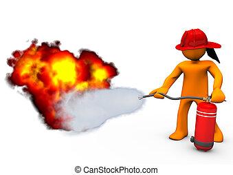 Fireman Extinguisher Fire - Orange cartoon character blows...
