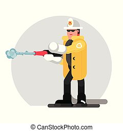 Fireman extinguishes the fire