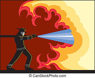Illustration of Fire Fighter fighting fire. The vector format can be easily edited or separated for print or screen print.