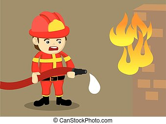 Fireman Fighting Fire with Dripping Hose - Cute cartoon...