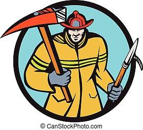 Fireman Firefighter Fire Axe Hook Circle Retro