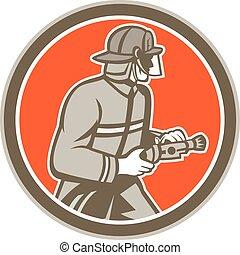 Fireman Firefighter Fire Hose Circle Retro