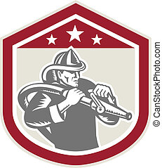Fireman Firefighter Fire Hose Shield Retro - Illustration of...