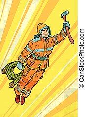 fireman, firefighter flying superhero help